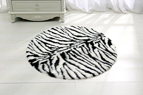 RugMall Faux Fur Shaggy Rug 3 Feet 3 Inch Round Zebra-stripe