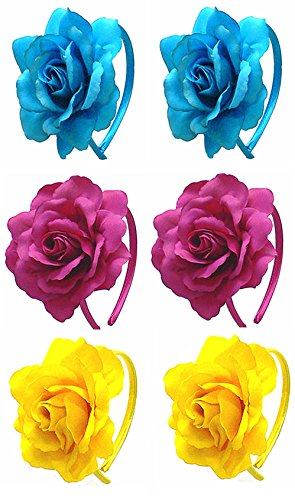 Price comparison product image Set of 6 Large Rose Flower Headbands U86175-8688-2yellow