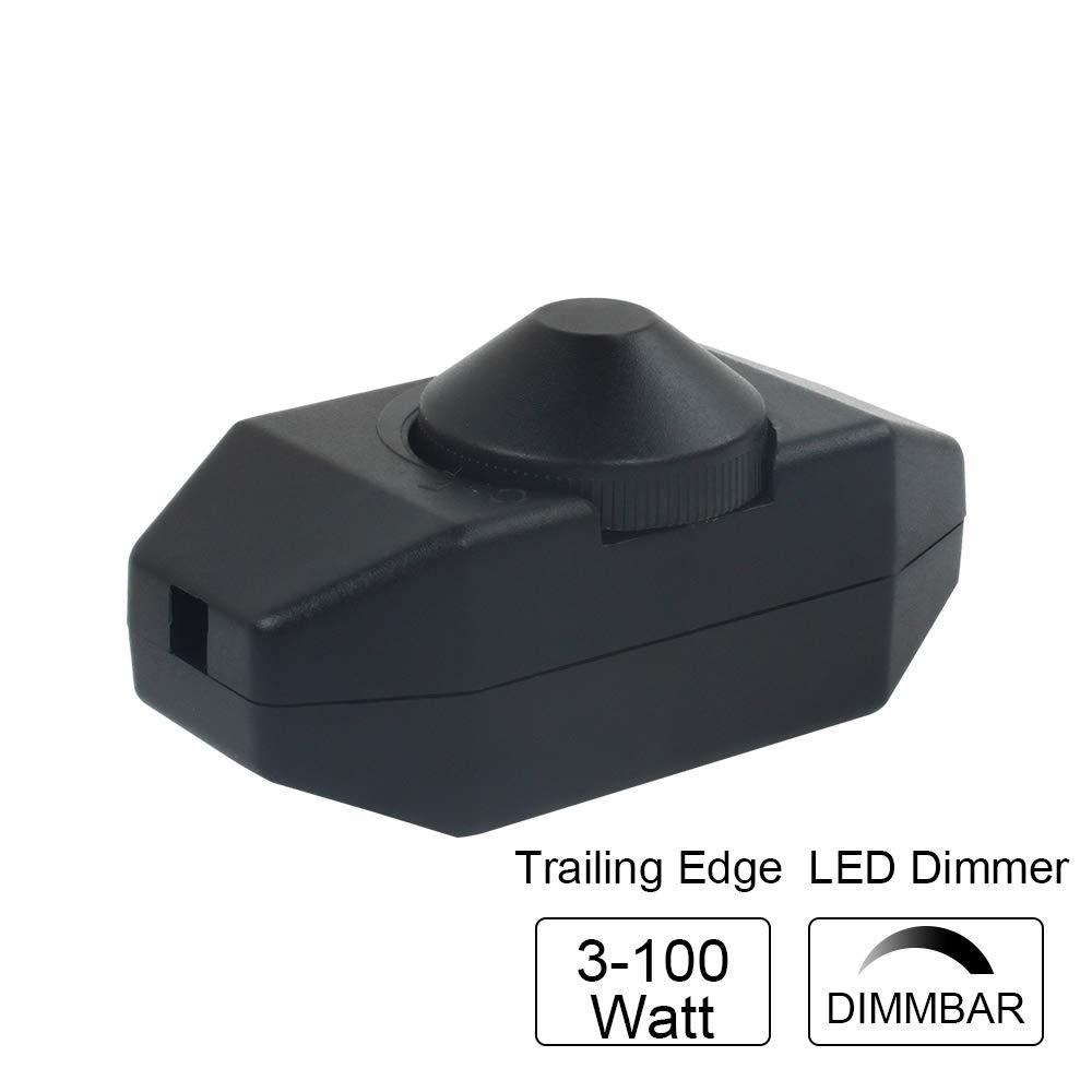 VIPMOON® Interruptor y Dimmer Regulador de Intensidad/Atenuación de Luz LED, 220-240V, con Perilla, Regulable entre 3-100 Vatios con Ajuste Continuo, para Luces LED y Bombillas Regulables, CE, Negro