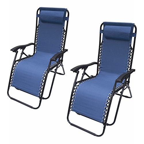 ALEKO 2FLCH-BL Outdoor Patio Foldable Chaise-Longue Leisure Pool Beach Chair, Blue Color, Lot of 2 (Long Patio Chair)