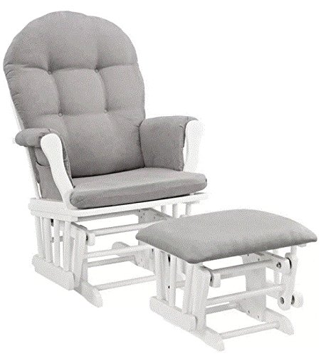 NEW Windsor Glider and Ottoman White Finish and Gray Cushions Angel Line