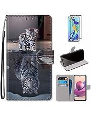 MUTOUREN Hoesje voor Xiaomi Redmi Note 10 Pro/Note 10 Pro Max con Schermbeschermer, PU Lederen Case Flip Wallet Cover Magneet Beschermende Schokbestendige Telefoonhoes, Kat en tijger