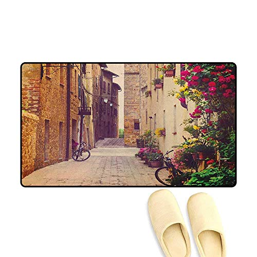 (YGUII Cityscape Floor mat for tub Street in Pienza Tuscany Italy with Hanging Basket Plants Flowers Bicycles Picture 16X23.6in (40x60cm) Red Green)