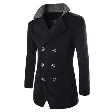 Bhydry Fashion Men Jacket Warm Winter Trench Long Outwear Button