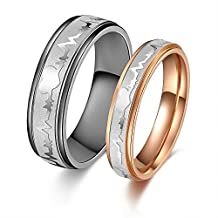 His or Hers Matching Set Heart Beat Chart Titanium Steel Couple Wedding Band Ring in a Gift Box