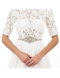 AW Rhinestone Wedding Dress Belt Crystal Bridal Sash Belt, Silver