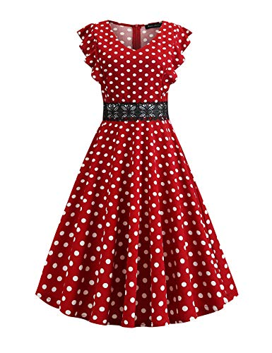 Women's Retro Vintage Ruffle Flared Pockets A Line Swing V Neck Lace Embroidery Casual Cocktail Party Dresses White Polka Dots for Red Size L