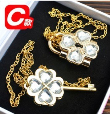 (Shugo Chara Lock and Key Necklace White with golden chain ,Lock can be opened)