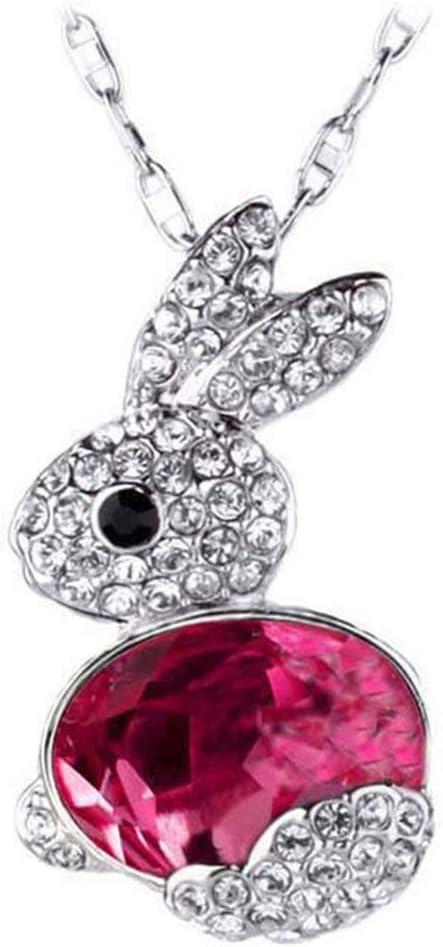 Ogquaton Collier pour les femmes lapin mode /él/égant collier pendentif en cristal strass femme collier de cha/îne Rose rouge /él/égant et populaire