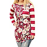 Striped Blouse,ZYooh Women Casual Floral Printed Long Sleeve Striped Patchwork Bohemia Stretchy Tops Blouse T-Shirt