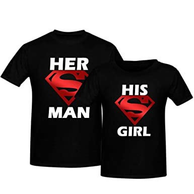 041ae8017 Mysmar Her Superman/His Supergirl Printed T-Shirt For Couples - S, Black