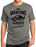 Idiopix The Mountains Are Calling Men's T-shirt – Camping Hiking Mountain Enthusiast Gifts X-Large Steel