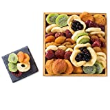 Gourmet Gift Tray, Dried Fruit Platter Mosaic in a Reusable Wooden Display Tray, with Craisins, Dried Kiwi, & More, By Benevelo Gifts