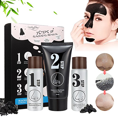 Blackhead Peeling Mask - 3 STEP KIT Blackhead Remover Mask, Deep Cleaning Mask - Set Contains Exporting Blackheads Essence, Blackhead Cleaning Paste, Pore Tightened Essence