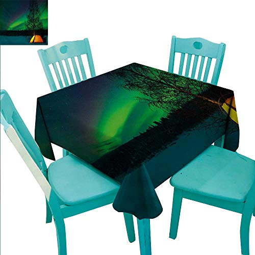 WilliamsDecor Aurora Borealis Fabric Dust-Proof Table Cover Camping Tent Under Magnetic Field Nature Picture Indoor Outdoor Camping Picnic 54