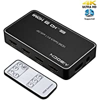 Aibocn HDMI Switch, Intelligent 4-Port HDMI Switcher, Splitter, Supports 4K, Full HD1080p, 3D with IR Remote