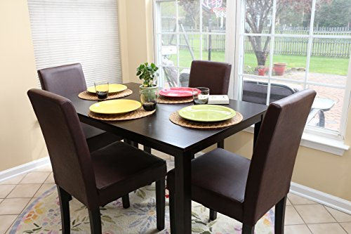 5 pc espresso leather brown 4 person table and chairs for 4 person dining table
