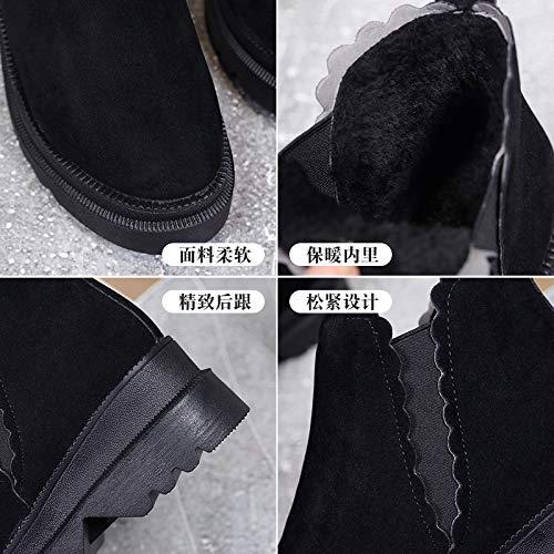 HBDLH Damenschuhe Student Schuhe Heel Heel Heel 6 cm Winter Baitao Dicke Hintern Vlies Schleifen Martin Stiefel 45b27a