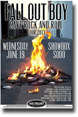 Fall Out Boy Poster Concert Promo 11 x 17 inches FOB Save Rock 'n roll Tour 2013