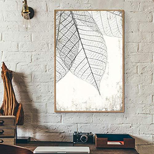 wall26 Framed Canvas Print Wall Art Hanging Transparent Black & White Grunge Leaves Floral Nature Illustrations Modern…
