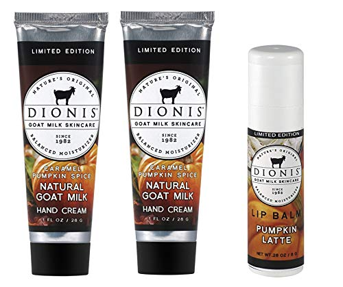 Dionis Goat Milk Hand Cream and Lip Balm 3 Piece Gift Set – Caramel Pumpkin Spice & Pumpkin Latte