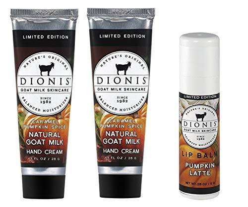 Dionis Goat Milk Hand Cream and Lip Balm 3 Piece Gift Set – Caramel Pumpkin Spice & Pumpkin Latte