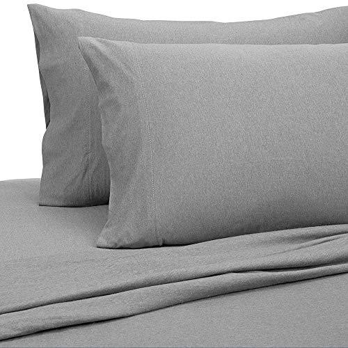 PURE LINEN Jersey Sheets King [4-Piece, Dark Gray] Cotton Bed Sheets - Extra Soft Cotton Sheet Set, Cozy T-Shirt All Season Heather Sheets - Deep Pocket Fitted Sheet, Flat Sheet, Pillow Cases
