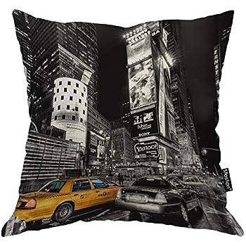 Moslion New York Pillow Decorative Throw Pillow Cover Vintage New York City Satin Square Cushion Cover Standard Pillow Cases for Men Women Boys Girls Home Sofa Bedroom Livingroom 18