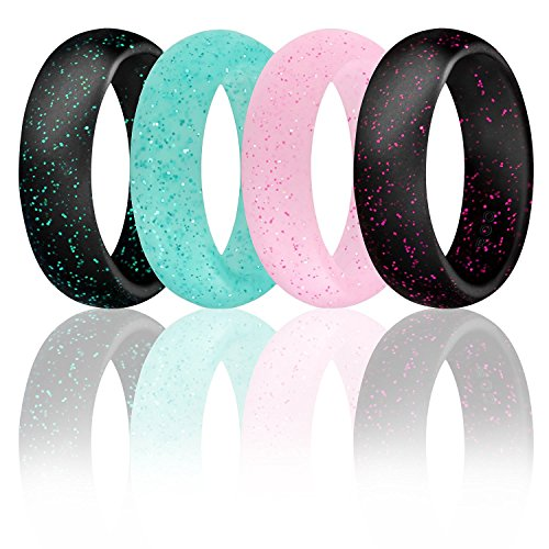 Silicone Wedding Ring For Women By ROQ, Set of 4 Silicone Rubber Wedding Bands - Black with Glitter Sparkle Pink, Glitter Teal Turquoise, Glitter Pink - Size 6 (Glitter Wedding)