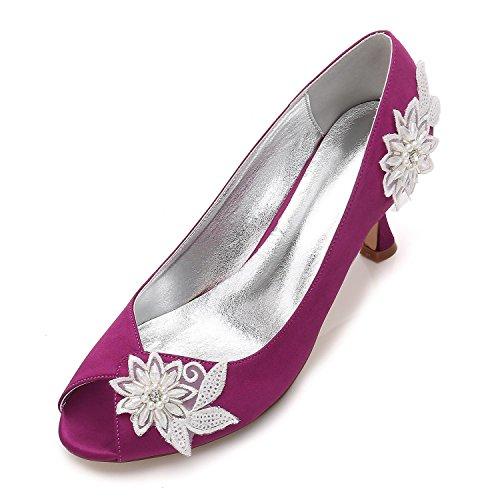 L@YC SeñOras Para Mujer De TacóN alto Plataforma De Flores De Perlas Flor De La Boda Nupcial Prom Noche Zapatos TamañO Purple