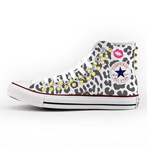7a14f6ef1d08e Converse Personalizzate con borchie All Star Alta - scarpe artigianali -  Leopardo Multicolor