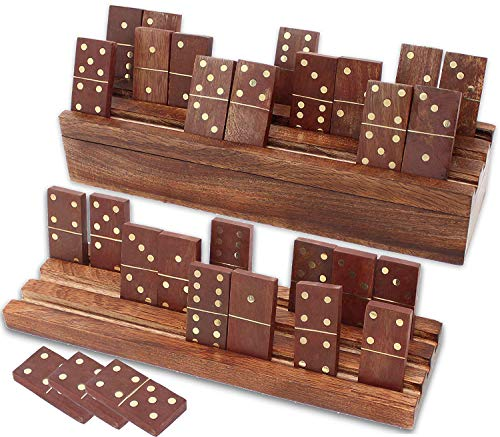 Wooden Dominoes - SKAVIJ Handmade Wooden Domino and Tray Set Double 6 Tile Game (10