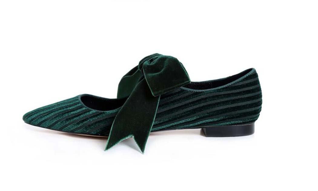 MYI Damen einzelne Fliege flache Schuhe spitz Zehenriemen einzelne Damen Schuhe schwarz/grün Größe 34-39 Grün 583a41