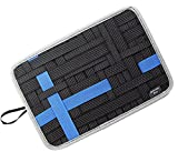 Admirable Idea Anti-slip Electronic Accessories Elastic Organizer Board with Tablet Pocket,Travel Gear Organize Case for Cables - Black Size L