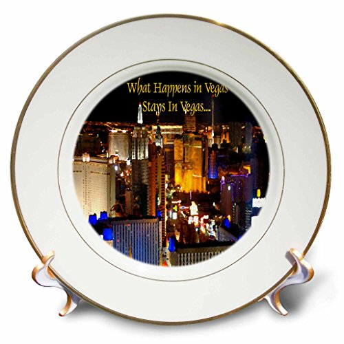 3dRose cp_4398_1 What Happens in Vegas Stays in Vegas Porcelain Plate, 8-Inch