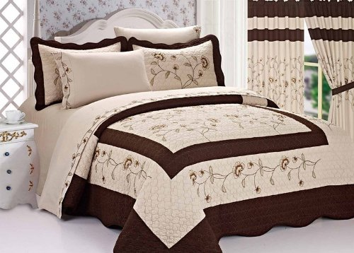 "3pc Nice Design 102x94"" Taupe / Brown Fully Quilted Embroide"