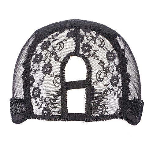 G-EASY U Part Wig Caps for Making Wig with Adjustable Straps and Combs Medium Brown Swiss Lace Middle Part Medium Cap (Small Cap, Black) by G-EASY