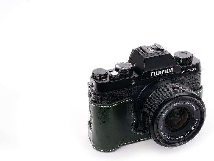 BolinUS Handmade Genuine Real Leather Half Camera Case Bag Cover for Fujifilm Fuji X-T100 XT100 Camera Bottom Opening Version X-T100 Case Green Hand Strap