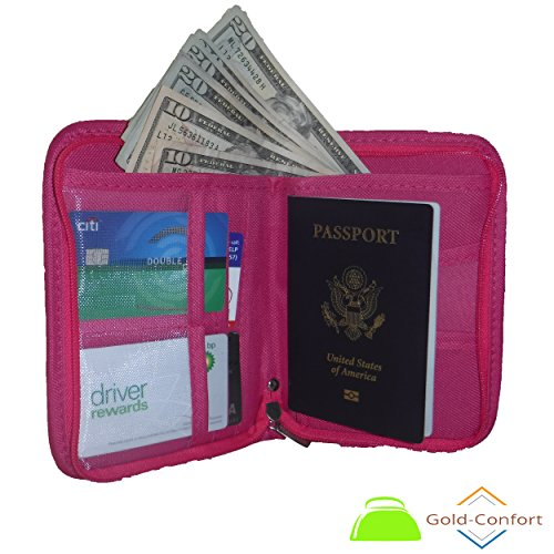 The Gold-Confort Passport Wallet - Travel Document Organizer (Pink) - Nokia Lumia 521 Bling Phone Case