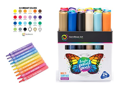 KennRowe Art 24 Color Acrylic Paint Marker Box Set - Kit Contains Permanent Water Based Paint Pens with Firm 2mm Fiber Tip - Markers are Perfect for Adults, Kids, Artists, -