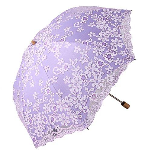 Honeystore Travel Sun Parasol Folding Brolly Anti-uv Sunshade Vintage Umbrella Printed Glitter Design 2 Folding Purple (Sun Parasol Buy)