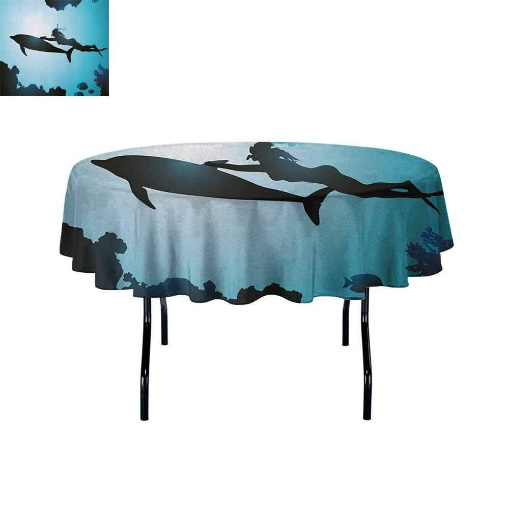 Curioly Dolphin Waterproof Anti-Wrinkle no Pollution Scuba Diver Girl Swimming with Dolphin Silhouette in Sea Fish Reefs Image Table Cloth D70 Inch Pale Blue Black by Curioly
