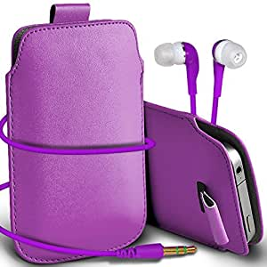 Online-Gadgets UK - HTC One Mini premium protección PU Tire de la cubierta del caso Tab bolsa deslizamiento del cordón en el bolsillo y Coincidencia 3.5MM Auriculares Auriculares Auriculares - luz púrpura