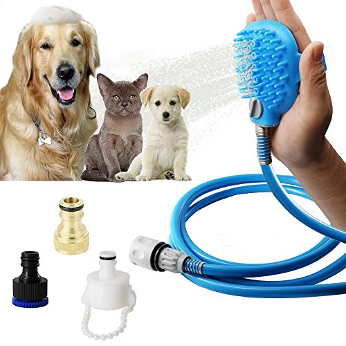 Taps Bath Taps (Pet Bathing Tool - Pet Shower Sprayer for Dog and Cat Bathing Massage Combo with Pet Grooming Glove and 3 Faucet Adapters, 8.2 ft Blue Hose Indoor and Outdoor Using)