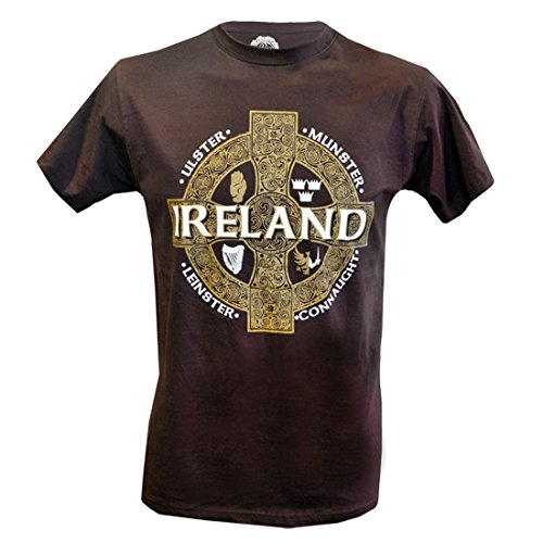Celtic Irish Pub (Brown T-Shirt With Celtic Cross Design And Four Provinces Of Ireland Design)