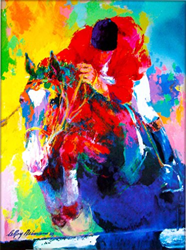 A SLICE IN TIME Louisville Kentucky Horse Race Jockey by Leroy Neiman Vintage Travel Home Collectible Wall Decor Advertisement Art Poster Print. Measures 10 x 13.5 inches