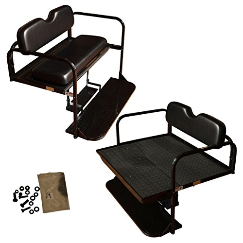 Performance Plus Carts EZGO TXT Golf Cart Flip Folding Rear Back Seat Kit - Black Cushions (Used Yamaha Golf Cart Parts For Sale)