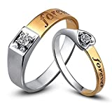 Forever Lover Diamond Solid 14K Two Tone Gold Wedding Engagement Promise Fashion Couple Ring Set(0.15cttw,G-H Color,VS-SI1 Clarity)