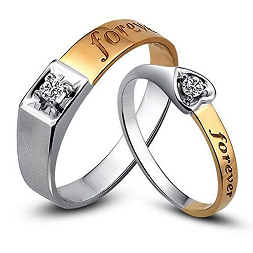 Forever Lover Diamond Solid 14K Two Tone Gold Wedding Engagement Promise Fashion Couple Ring Set(0.15cttw,G-H Color,VS-SI1 Clarity) by Kardy