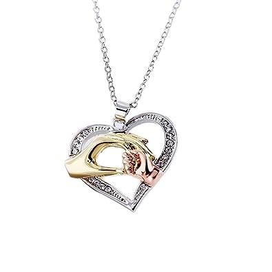 Abeillo Joyería profunda del amor Regalo del collar del corazón de la mano del niño de la madre Collar cristalino del co: Amazon.es: Joyería